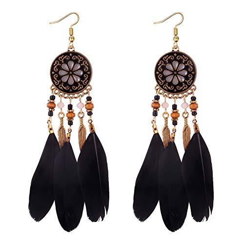 YAZILIND Haken Ohrringe Legierung Runde Anhänger mit Perlen Feder Bohemian Ethnic Style Schmuck für Frauen (Schwarz)
