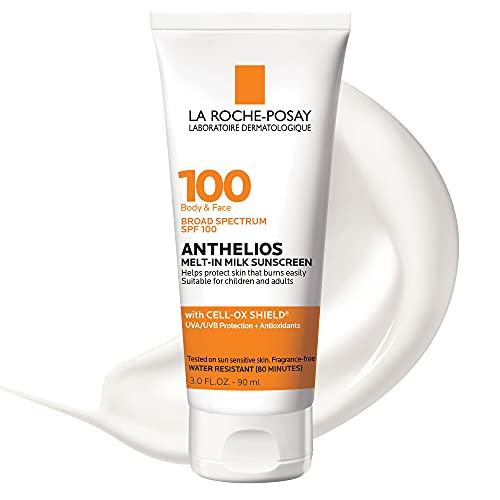 La Roche-Posay Anthelios Melt-in Milk Body & Face Sunscreen Lotion Broad Spectrum SPF 100, Oxybenzone & Octinoxate Free, Sunscreen for Kids, Adults & Sun Sensitive Skin, Unscented, 3 Fl oz