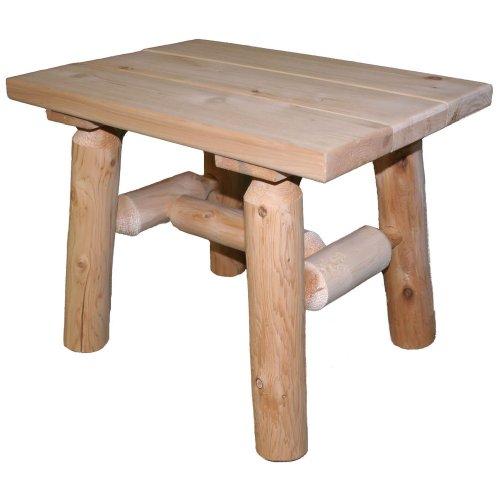Lakeland Mills Cedar Log End Table, Natural (Lawn & Patio)