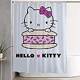 pingshang Lustiger Stoff-Duschvorhang Hello Kitty mit Kuchen Wasserdichtes Badezimmerdekor mit Haken 60 x 72 Zoll