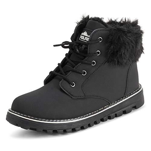 Polar Mujer Espuma De Memoria Motorista Cardy Cuff Botas De Nieve Piel Sintética Forrada Welted Caucho Suela Exterior Térmica Zapatos - Negro - UK8/EU41 - YC0651