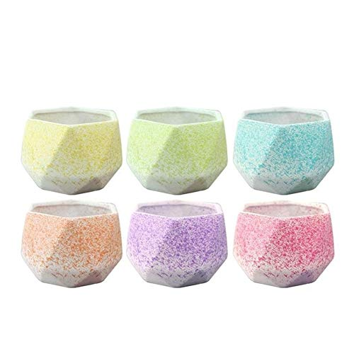 MINGMIN-DZ Dauerhaft 6PCS Keramik Blumentöpfe hohe Gaspermeabilität Keramik kreative Blumenhalter Haushalt Schlafzimmer Wohnzimmer Vase Dekoration