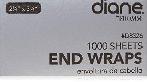 """Diane End Wraps – Pack of 1000 for Styling Hair in Salon or at Home – 2.25"""" x 3.25"""" – White – D8327"""