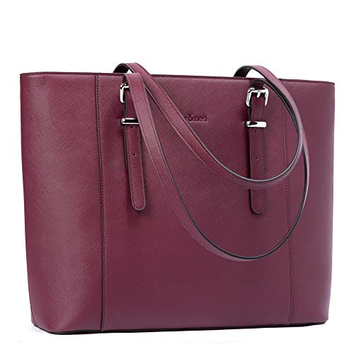 BROMEN Leather Laptop Bag for Women 15.6 inch Computer Office Briefcase Handbag Shoulder Work Tote with Padded Compartment Purple