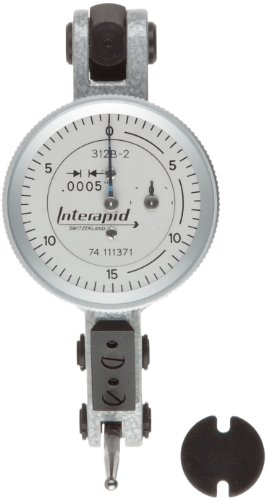 "TESA Brown & Sharpe 74.111370 Interapid 312 Dial Test Indicator, Horizontal Type, M1.7x4 Thread, 0.157"" Stem Dia., White Dial, 0-15-0 Reading, 1.5"" Dial Dia., 0-0.06"" Range, 0.0005"" Graduation, +/-0.01mm Accuracy - 312b-1"