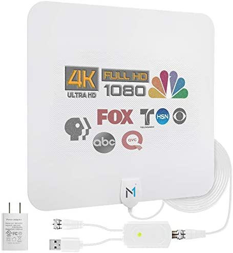 Newest 2021 Chip HDTV Indoor White Antenna w Long Range Signal Reception up to 200 Miles High product image