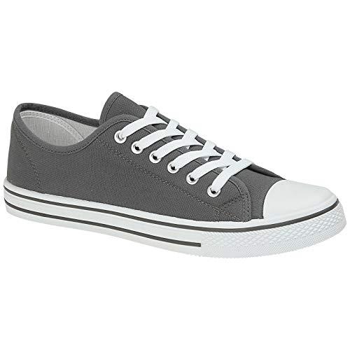Zapatos de lona para hombre, estilo casual, con cordones, retro, para gimnasio, béisbol, deportes, patinaje, zapatillas ligeras, de moda, clásicas, alpargatas, color Gris, talla 42 1/3 EU