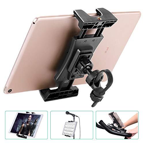 NUOMIC Tablet Halterung Fahrrad, Ipad Halterung für Spinning Bike/Mikrofonständer/Heimtrainer/Treadmill, 360° Drehbarer Tablet Ständer Kompatibel mit IPad Series 4.7-12.9 Zoll