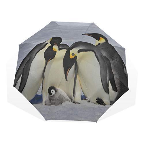 Reiseregenschirm Cute Hairy Antarctic Penguin Vogel Anti Uv Compact 3 Fold Art Leichte Klappschirme (Außendruck) Winddicht Regen Sonnenschutzschirme Für Frauen Mädchen Kinder