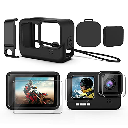 Accessories Kit for GoPro Hero 10/9 Black, Silicone Sleeve Protective Case with Rubber Cap + 6Pcs Tempered Glass Screen Protector with Lens Cover Cap for GoPro Hero 10/9