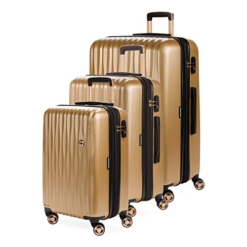 SWISSGEAR 7272 Energie Hardside Polycarbonate Spinner Collection 3-Piece Set (19/23/27) - Gold
