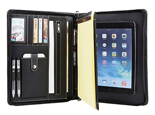 Carpeta de conferencia de cuero genuino hecha a mano con cremallera para el nuevo iPad Pro 10.5/11, carpeta A4, bolsillo para almacenamiento de tableta, carpeta de negocios