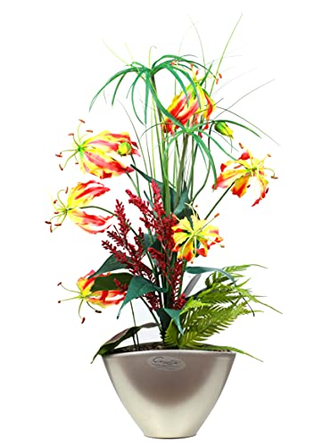Liatris Floristik Gloriosa, luxuriöse Kunstblume im Topf, Seidenblume inkl. hochwertigen Keramik-Topf, Dekoration Wohnung modern 60 cm groß