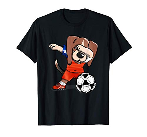 Dabbing Beagle Dog Fútbol de Chile - Bandera de Chile Camiseta