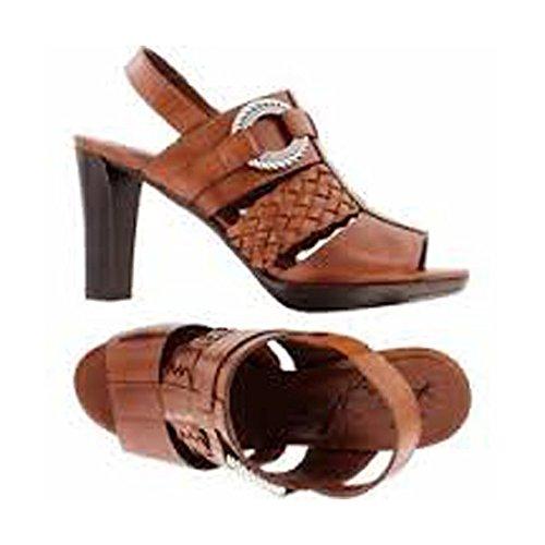 Brighton Venti High Heeled Luggage Brown Leather Sandals (7M)