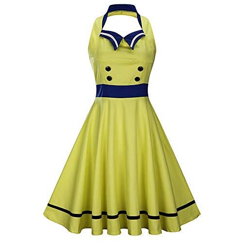Quskto vrouwen gestikt contrast grote schommel jurk retro mouwloos open rug jurk geschikt voor een verscheidenheid van gelegenheden