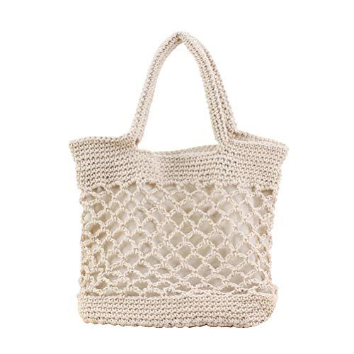 FENICAL Bolso de playa Algodón verano paja Tote bolso tejido para damas mujeres (Beige)