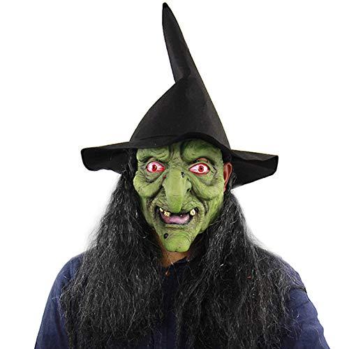 C αγάπη Ζ Máscaras de Halloween Esqueleto Látex de Caucho Horror Cabeza Humana de Fiesta Careta - Bruja Verde