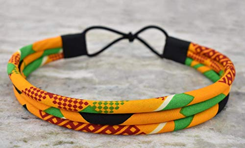 All Yellow Kente Headband | 3 Strand Head Piece | Yellow Headband | African Print Headwrap | Natural Hair | Afrocentric | Cloth and Cord