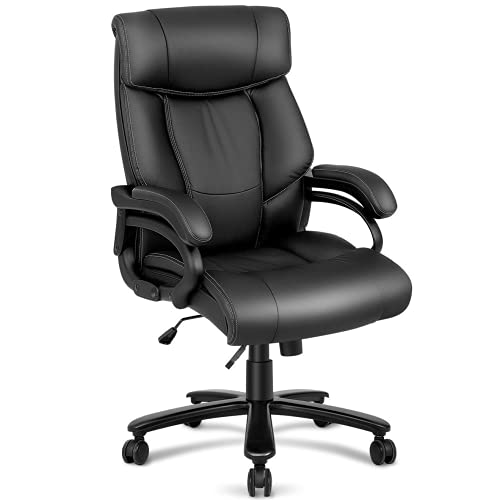 Kealive Big and Tall Office Chair 400lbs, Leather High Back Executive Computer Chair with Lumbar Support Wide Seat, Ergonomic Adjustable Tile Angle Reclining Swivel Desk Chair for Heavy People, Black