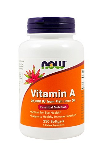 Now Foods Vitamin A, 25000 IU from Fish liver oil, 250 Softgels (Pack of 2)