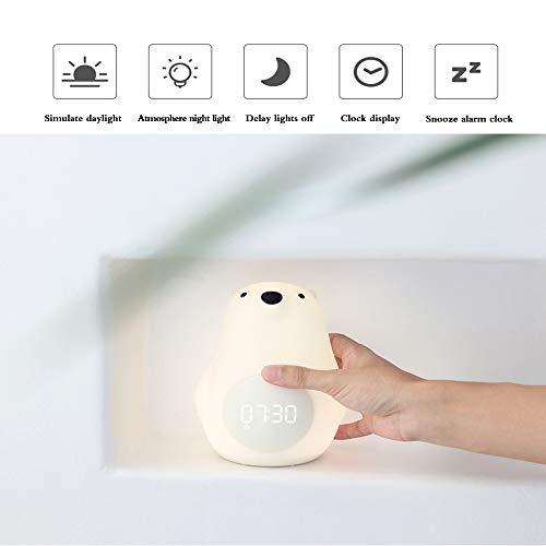 FGAITH Wake-Up Light met snooze-functie, bedlampje voor cartoons, cartoons, oogbescherming, nachtbewakingsfunctie, energieklasse A