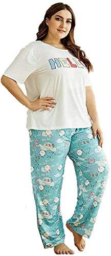 Conjunto de Pijamas con Estampados de Dibujos Animados para Mujer de Talla Grande para Mujer Conjunto de Tops + Parte Inferior de Ropa de Dormir, Camisetas de Manga Corta y Pantalones Estampados 4XL