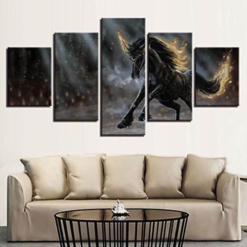 XITANG 5 stuks canvas schilderij bedrukt Hd dierenbeeld kunst decor paard lopen landschap voor woonkamer wandposter modulair