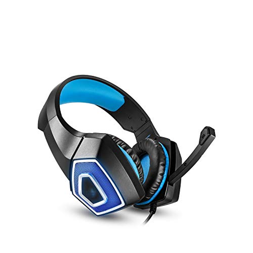 GR-Furniture Gaming Headset, Stereo Bass 3.5Mm Wired Over Ear Headphones with Mic 7 Colourful Led Light Indicator & Noise Canceling for Xbox One PS4 PC,Blue