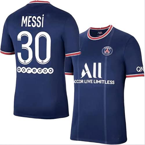 Camiseta Messi 30 Paris Saint-Germain Home Temporada 2021-2022 Camiseta de fútbol para Hombre, un Regalo para los fanáticos. (Messi, 24)