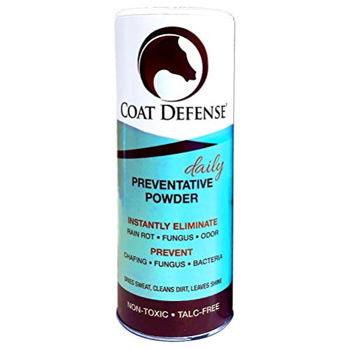 Coat Defense Daily Preventative Powder for Horses. Cleans and Deodorizes Without Water. Shake On, Work In, Brush Out. Eliminates Odor, Bacteria, Fungi, Rain Rot. Safe. Talc-Free. Made in USA. 24 Ounce