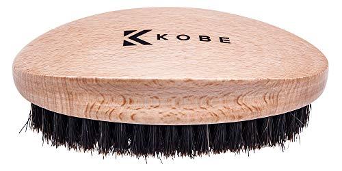 Kobe Palm - Cepillo de pelo militar de madera para hombre, herramienta de aseo de mano con cerdas naturales de jabalí para cabello y barba