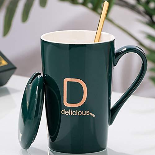 Taza taza de café de cerámica, letra personalizada C/D/F con tapa de cuchara taza de café, exquisita caja de regalo, taza de embalaje, para escritorio/regalo comercial,D