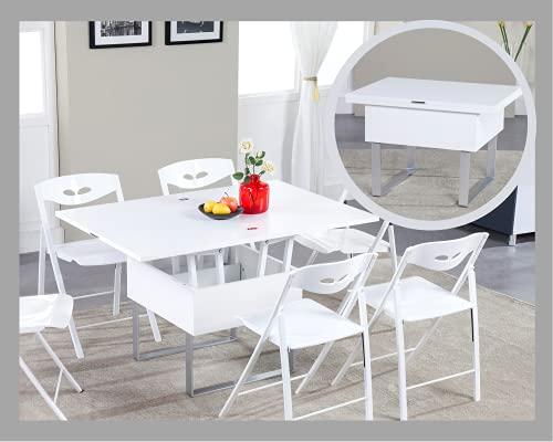 VOLERO' Shopping Online, Tavolo Trasformabile Salvaspazio, Modello Enea, Top in Legno Color Bianco Laccato Lucido, Struttura in Acciaio Color Argento.