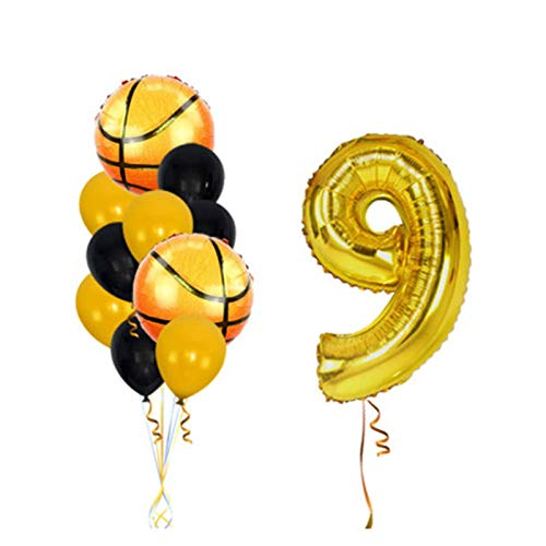 JSJJAES Balloons 12pcs/lot Basketball Foil Balloons Globos Happy Birthday Party 32inch Number balloon Decorations Kids balloon Inflatable Toys (Color : Gold 9, Shape : 12pcs)