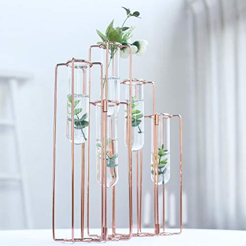 Efavormart Set of 5-15' Conjoined Rose Gold Geometric Metal Flower Vase Racks Hydroponic Test Tube Vases