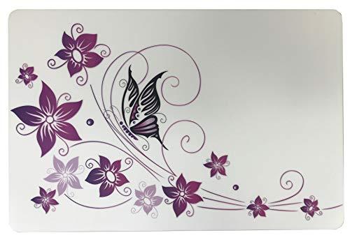 Schreibtischunterlage Schmetterling auf Blume 40 x 60 cm, abwischbar, weiß/lila