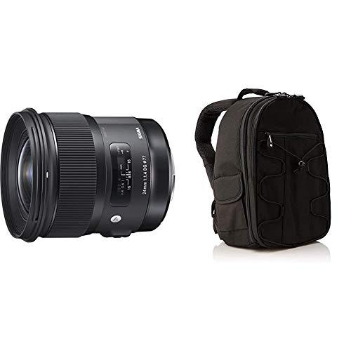 Sigma 24 mm/F 1.4 DG HSM Art - Objetivo para Canon, Color Negro + AmazonBasics - Mochila para cámara réflex y Accesorios, Color Negro