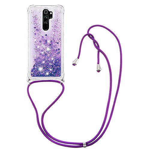Liquid Quicksand Silicone TPU Bumper Case with Lanyard for Xiaomi Redmi Note 8 Pro (Purple)
