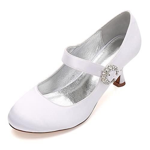MNVOA Zapatos De Novia De Fiesta De Boda De Satén Mary Jane...