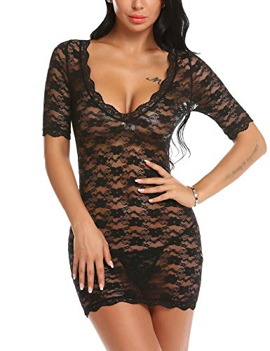 GEESENSS Lingerie for Women Sexy Lace Teddy Bodysuit V Neck Chemise Babydoll Sleepwear Black L