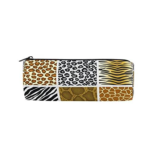 JNlover - Estuche redondo para lápices con estampado de piel de animales, para adolescentes, niños, oficina
