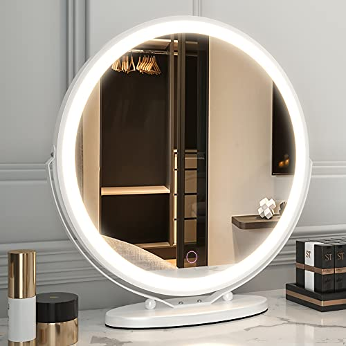 LVSOMT Schminkspiegel mit Beleuchtung, 3-Farben-Beleuchtung, dimmbarer LED-Spiegel,Touch-Steuerung,360°-Drehung, hochauflösender großer runder beleuchteter Spiegel (Weiß)