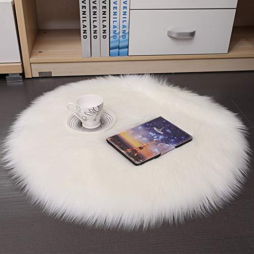 DQMEN Faux Pelliccia di Agnello di Pecora Tappeto,Pelliccia Sintetica Tappeto Vello di Pecora (Bianco, 45 X 45 CM)