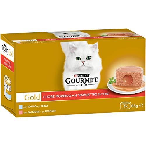 Purina Gourmet Gold Cibo Umido per Gatti Adulti, Cuore Morbido con Tonno, Salmone, 48 Lattine da 85 g Ciascuna, 12 Confezioni da 4 x 85g