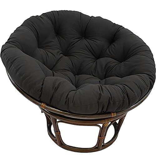 KWOPA Thicken Round Radar Chair Pad,Soft Cozy Papasan Chair Cushion,Hanging Chair Seat Cushion(Includes Cushion Only,No Rattan Chair)-Black. 140x140cm(55x55inch)