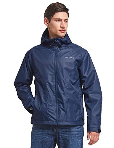 BALEAF Men's Waterproof Rain Jacket Lightweight Windbreaker Hooded Outdoor Water Resistant Shell Navy 2XL