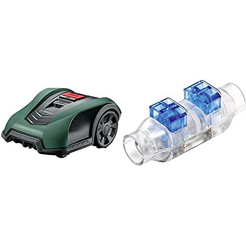 Tondeuse Robot connectée Bosch - Indego S+350 (contrôle avec Smartphone) & F016800432 Connecteurs de câble pour Tondeuse Robot Bosch indego - Sachet de 4pcs, Transparent
