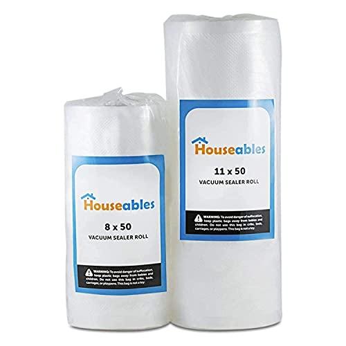 Houseables Vacuum Sealer Bags, Sous Vide Rolls, Two (2), Combo, 8...
