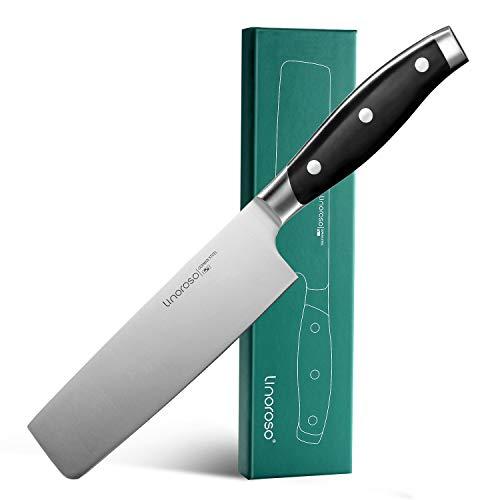 Linoroso Nakiri-Messer, 7-Zoll-Gemüsemesser Japanisches Kochmesser, Asiatisches Küchen-Cleaver-Messer, scharfes deutsches Usuba-Messer aus rostfreiem Stahl mit hohem Kohlenstoffgehalt - Classic Series